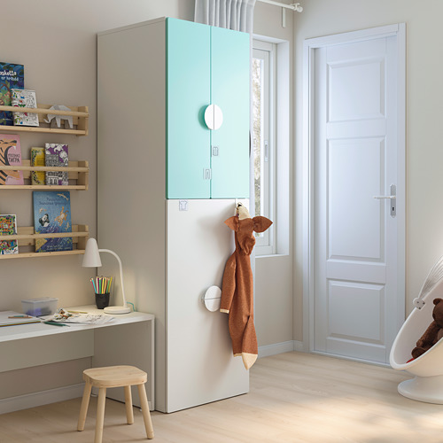 SMÅSTAD - wardrobe with pull-out unit, white pale turquoise/with clothing rod | IKEA Hong Kong and Macau - PE793109_S4