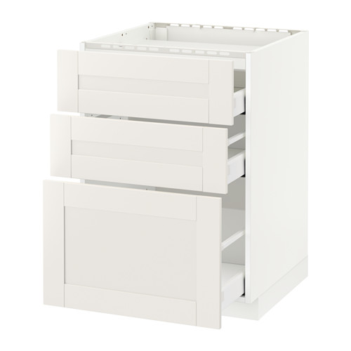 METOD/MAXIMERA - base cab f hob/3 fronts/3 drawers, white/Sävedal white | IKEA Hong Kong and Macau - PE524671_S4