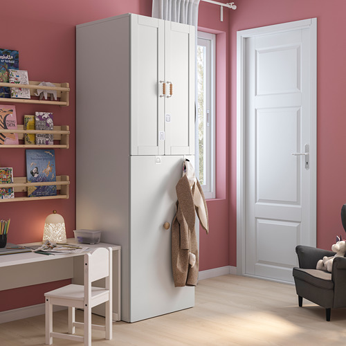 SMÅSTAD - wardrobe with pull-out unit, white with frame/with clothing rod | IKEA Hong Kong and Macau - PE793180_S4