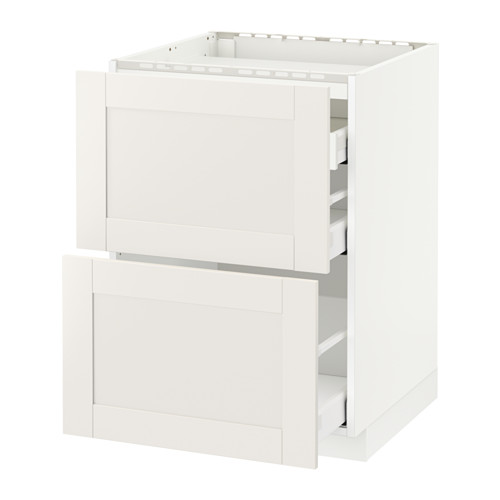 METOD/MAXIMERA - base cab f hob/2 fronts/3 drawers, white/Sävedal white | IKEA Hong Kong and Macau - PE524752_S4
