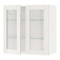 METOD - 吊櫃連層板/1對玻璃門, white/Sävedal white | IKEA 香港及澳門 - PE524755_S3