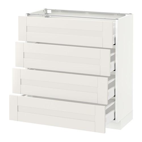 METOD - base cab 4 frnts/4 drawers, white Maximera/Sävedal white | IKEA Hong Kong and Macau - PE524765_S4