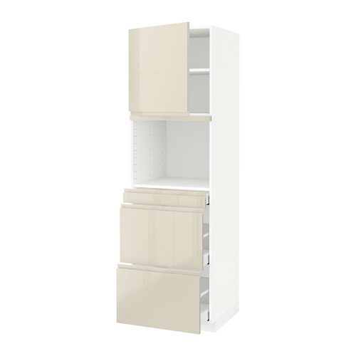 METOD/MAXIMERA - hi cab f micro combi w door/3 drwrs, white/Voxtorp high-gloss light beige | IKEA Hong Kong and Macau - PE589940_S4