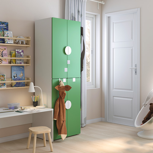 PLATSA/SMÅSTAD - wardrobe, white green/with 2 clothes rails | IKEA Hong Kong and Macau - PE793257_S4