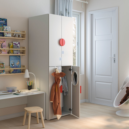 PLATSA/SMÅSTAD - wardrobe, white grey/with 2 clothes rails | IKEA Hong Kong and Macau - PE793272_S4