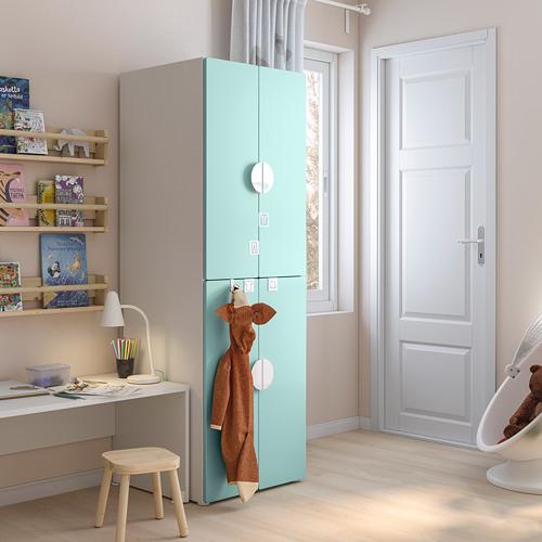 PLATSA/SMÅSTAD - 衣櫃, white pale turquoise/with 2 clothes rails   IKEA 香港及澳門 - PE793273_S4
