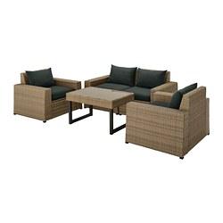SOLLERÖN - 戶外四座椅組合, 褐色/Hållö 黑色   IKEA 香港及澳門 - PE740667_S3