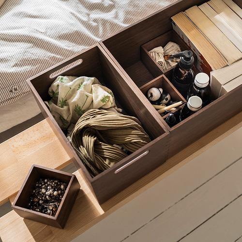 NÄBBIG - 貯物盒,4件套裝, 褐色 | IKEA 香港及澳門 - PE838461_S4