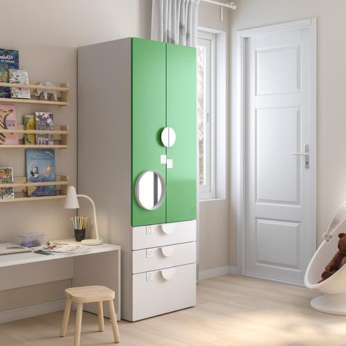 PLATSA/SMÅSTAD - wardrobe, white green/with 3 drawers | IKEA Hong Kong and Macau - PE793397_S4
