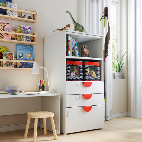 PLATSA/SMÅSTAD - bookcase, white white/with 3 drawers | IKEA Hong Kong and Macau - PE793458_S4