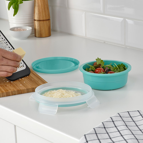 IKEA 365+ - lunch box with dry food compartment, round turquoise, 450ml | IKEA Hong Kong and Macau - PE793470_S4