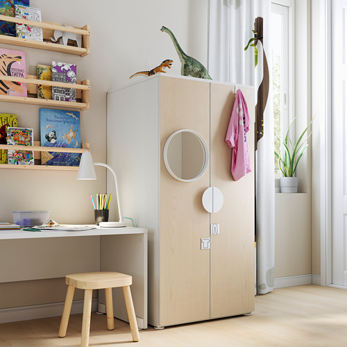 PLATSA/SMÅSTAD - 衣櫃, 白色/樺木 | IKEA 香港及澳門 - PE793476_S4