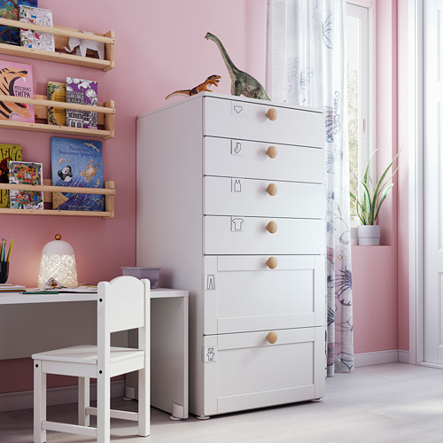 PLATSA/SMÅSTAD - chest of 6 drawers, white with frame | IKEA Hong Kong and Macau - PE793499_S4
