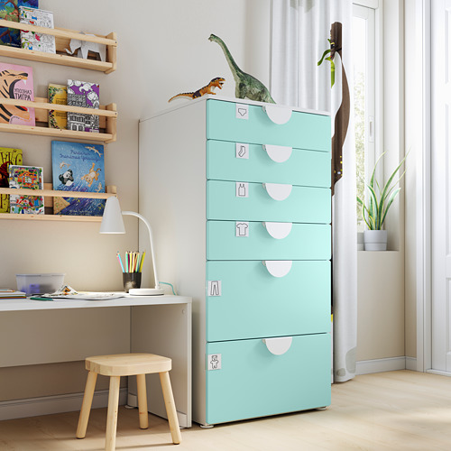 PLATSA/SMÅSTAD chest of 6 drawers, white/pale turquoise