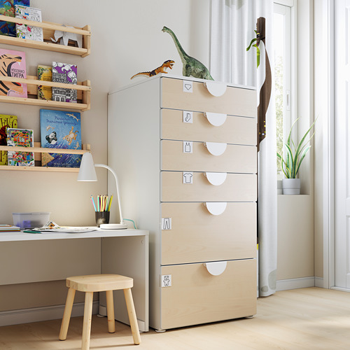 PLATSA/SMÅSTAD - chest of 6 drawers, white/birch | IKEA Hong Kong and Macau - PE793497_S4