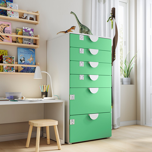 PLATSA/SMÅSTAD - chest of 6 drawers, white/green | IKEA Hong Kong and Macau - PE793492_S4