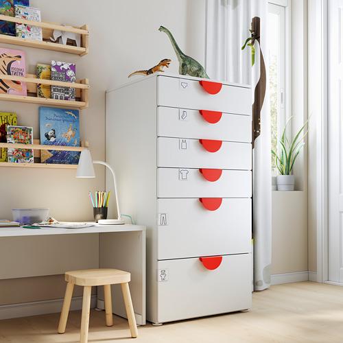 PLATSA/SMÅSTAD chest of 6 drawers, white/white