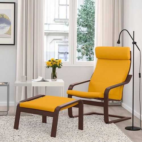 POÄNG - armchair, brown/Skiftebo yellow | IKEA Hong Kong and Macau - PE793511_S4