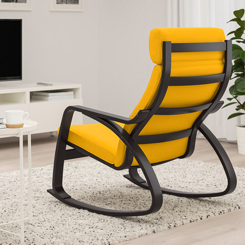 POÄNG - rocking-chair, black-brown/Skiftebo yellow | IKEA Hong Kong and Macau - PE793578_S4