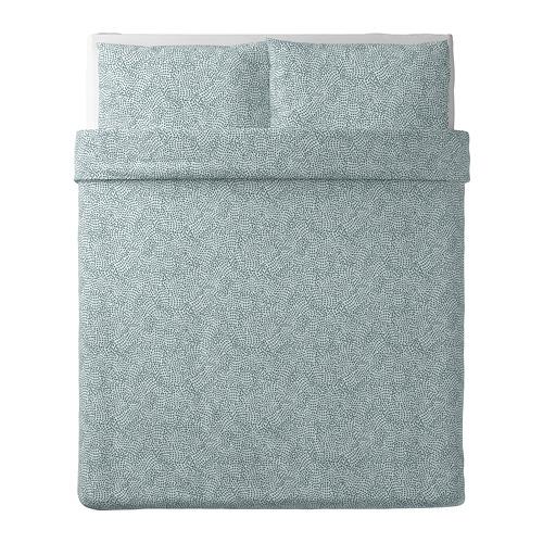 TRÄDKRASSULA - 被套連2個枕袋, 白色/藍色, 200x200/50x80 cm  | IKEA 香港及澳門 - PE740975_S4