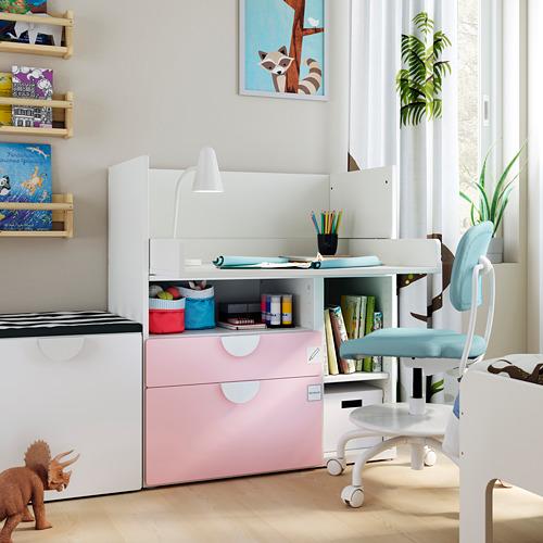 SMÅSTAD - 書檯, 白色 淡粉紅色/附2個抽屜 | IKEA 香港及澳門 - PE793629_S4