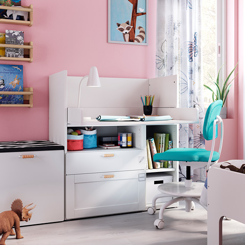 SMÅSTAD - 書檯, white with frame/with 2 drawers   IKEA 香港及澳門 - PE793633_S4