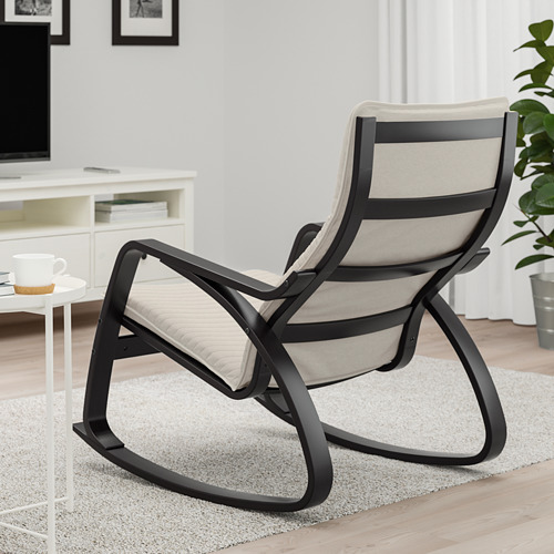 POÄNG - 搖椅, 棕黑色/Knisa 淺米黃色 | IKEA 香港及澳門 - PE667308_S4