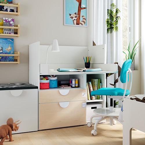 SMÅSTAD - 書檯, 白色 樺木/附2個抽屜 | IKEA 香港及澳門 - PE793631_S4