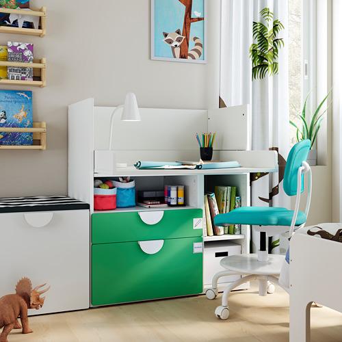 SMÅSTAD - 書檯, 白色 綠色/附2個抽屜   IKEA 香港及澳門 - PE793632_S4