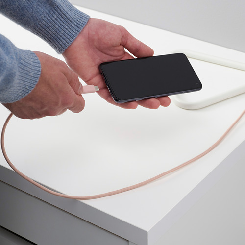 LILLHULT - USB至Type C傳輸線, 布料/淺粉紅色 | IKEA 香港及澳門 - PE793663_S4