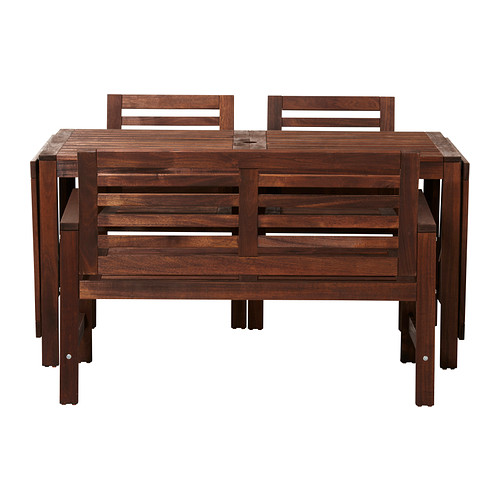ÄPPLARÖ - table+2 chrsw armr+ bench, outdoor, brown stained | IKEA Hong Kong and Macau - PE296040_S4