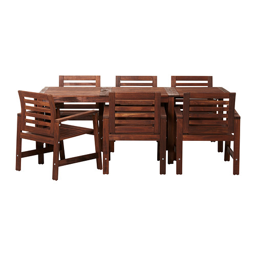ÄPPLARÖ - table+6 chairs w armrests, outdoor, brown stained | IKEA Hong Kong and Macau - PE296049_S4