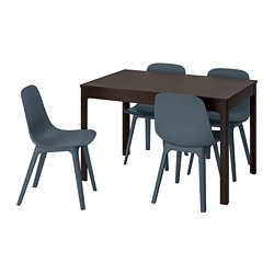 ODGER/EKEDALEN - table and 4 chairs, dark brown/blue | IKEA Hong Kong and Macau - PE741236_S3