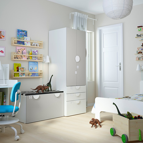 PLATSA/SMÅSTAD - storage combination, white grey/with bench | IKEA Hong Kong and Macau - PE793837_S4