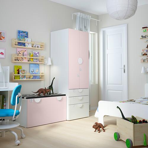 PLATSA/SMÅSTAD - storage combination, white pale pink/with bench | IKEA Hong Kong and Macau - PE793841_S4