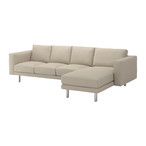 NORSBORG - 4-seat sofa, with chaise longue/Edum beige/metal | IKEA Hong Kong and Macau - PE651335_S4