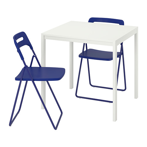 NISSE/MELLTORP - table and 2 folding chairs, white/dark blue-lilac | IKEA Hong Kong and Macau - PE741294_S4