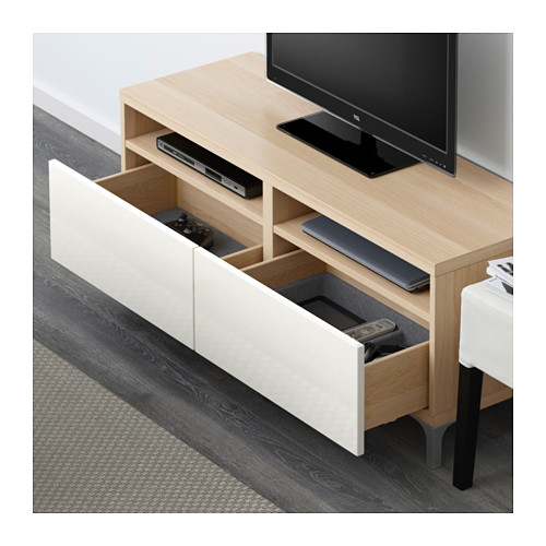 BESTÅ - TV bench with drawers, white stained oak effect/Selsviken high-gloss/white | IKEA Hong Kong and Macau - PE591239_S4