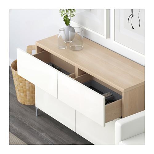 BESTÅ - 貯物組合連門/抽屜, 染白橡木紋/Selsviken 光面白色   IKEA 香港及澳門 - PE591398_S4