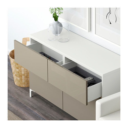 BESTÅ - storage combination w doors/drawers, white/Selsviken high-gloss/beige | IKEA Hong Kong and Macau - PE591409_S4