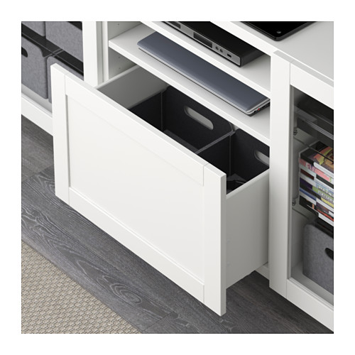 BESTÅ - TV bench with drawers, Hanviken/Stubbarp white clear glass | IKEA Hong Kong and Macau - PE591569_S4