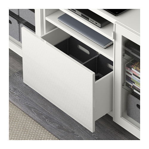 BESTÅ - TV bench with drawers, white/Selsviken high-gloss/white clear glass | IKEA Hong Kong and Macau - PE591575_S4