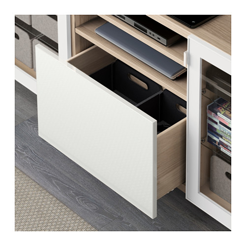 BESTÅ - TV bench with drawers, white stained oak effect/Selsviken high-gloss/white clear glass | IKEA Hong Kong and Macau - PE591579_S4