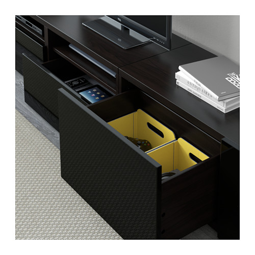 BESTÅ - TV storage combination/glass doors, black-brown/Selsviken high-gloss/black smoked glass | IKEA Hong Kong and Macau - PE591692_S4