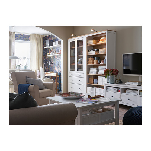 HEMNES - glass-door cabinet with 3 drawers, white stain/light brown | IKEA Hong Kong and Macau - PH159509_S4