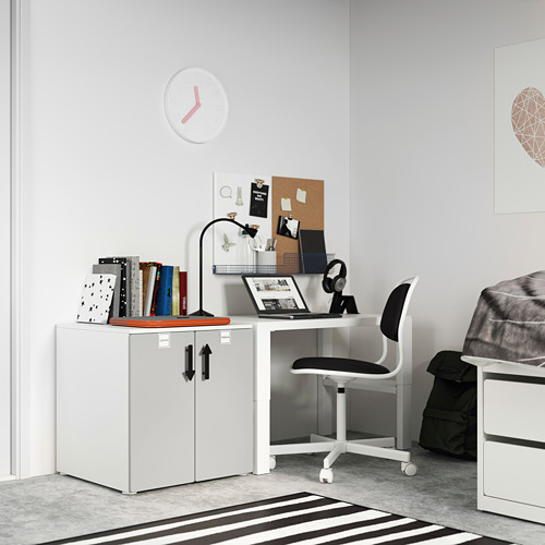 PLATSA/SMÅSTAD cabinet, white grey/with 1 shelf
