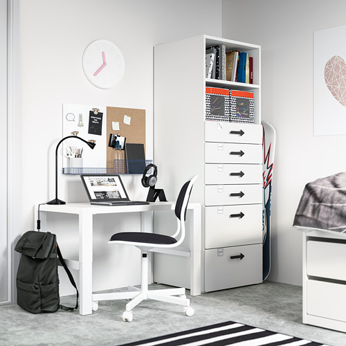 PLATSA/SMÅSTAD bookcase, white white/with 6 drawers