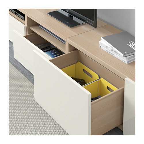 BESTÅ - TV storage combination/glass doors, white stained oak effect/Selsviken high-gloss/white frosted glass | IKEA Hong Kong and Macau - PE591850_S4