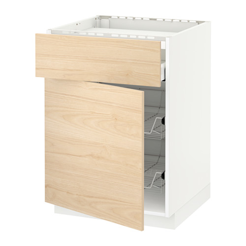 METOD/MAXIMERA - base cab f hob/drawer/2 wire bskts, white/Askersund light ash effect | IKEA Hong Kong and Macau - PE652251_S4