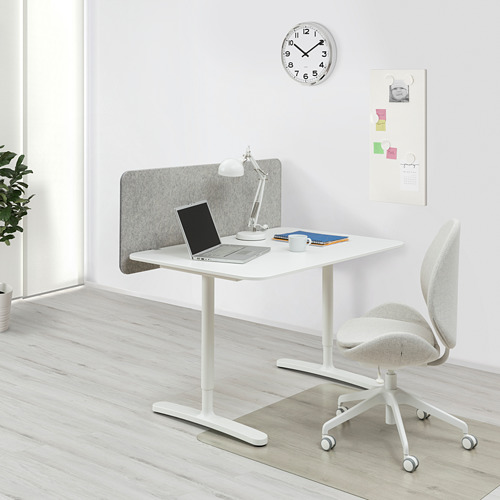 BEKANT - desk with screen, 120x80cm, white/grey | IKEA Hong Kong and Macau - PE794393_S4